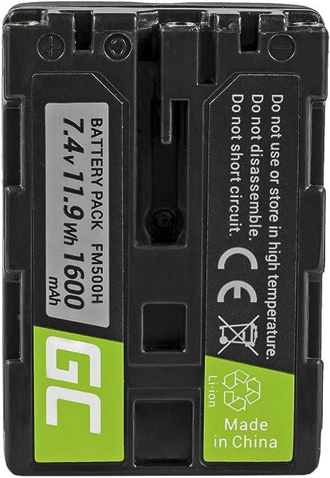 Green Cell® NP-FM500H NPFM500H Batería para Sony Alpha A100 A300 A500 DSLR-A100 DSLR-A200 DSLR-A500 SLT-A33 SLT-A35 SLT-A35 SLT-A57 SLT-A77 SLT-A99 Cámara, Full Decoded (1600mAh 7.4V)