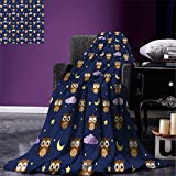 smallbeefly Nursery Warm Microfiber All Season Blanket Cute Owls in an Starry Night and Moon Happy Sleepy and Alert Animals Print Artwork Image,Multicolor, Night Blue Brown Yellow