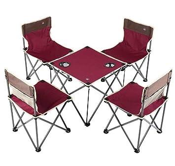 YUWEN Juego de Mesa de sillas Plegables portátiles compactas (4 ...
