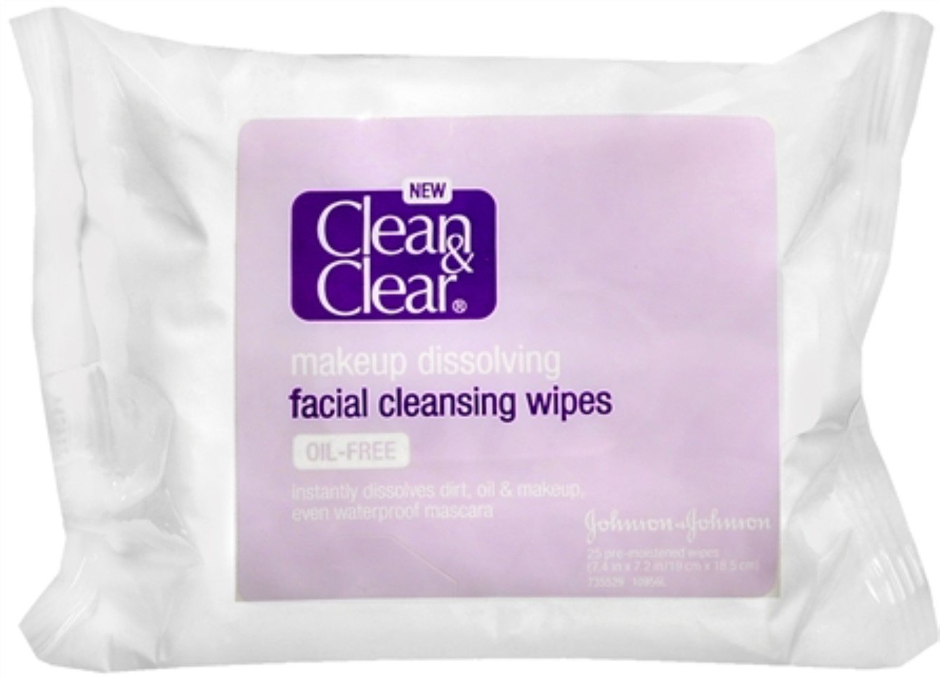 CLEAN & CLEAR Makeup Dissolving Facial Cleansing Wipes 25 Each (Pack of 6)