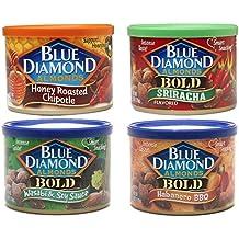 Blue Diamond Bold Hot & Spicy Almonds Bundle: Chipotle, Sriracha, Habanero and Wasabi Variety