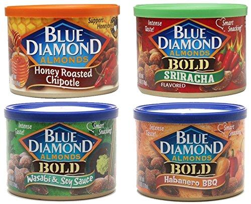 (Blue Diamond Bold Hot & Spicy Almonds Bundle: Chipotle, Sriracha, Habanero and Wasabi Variety)