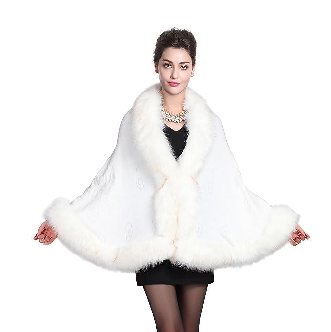 BEAUTELICATE Stola Scialle Donna Pelliccia Coprispalle Sciarpa Elegante per  Matrimonio Invernale Cerimonia Sposa Damigella  Amazon.it  Abbigliamento b3b150e95386