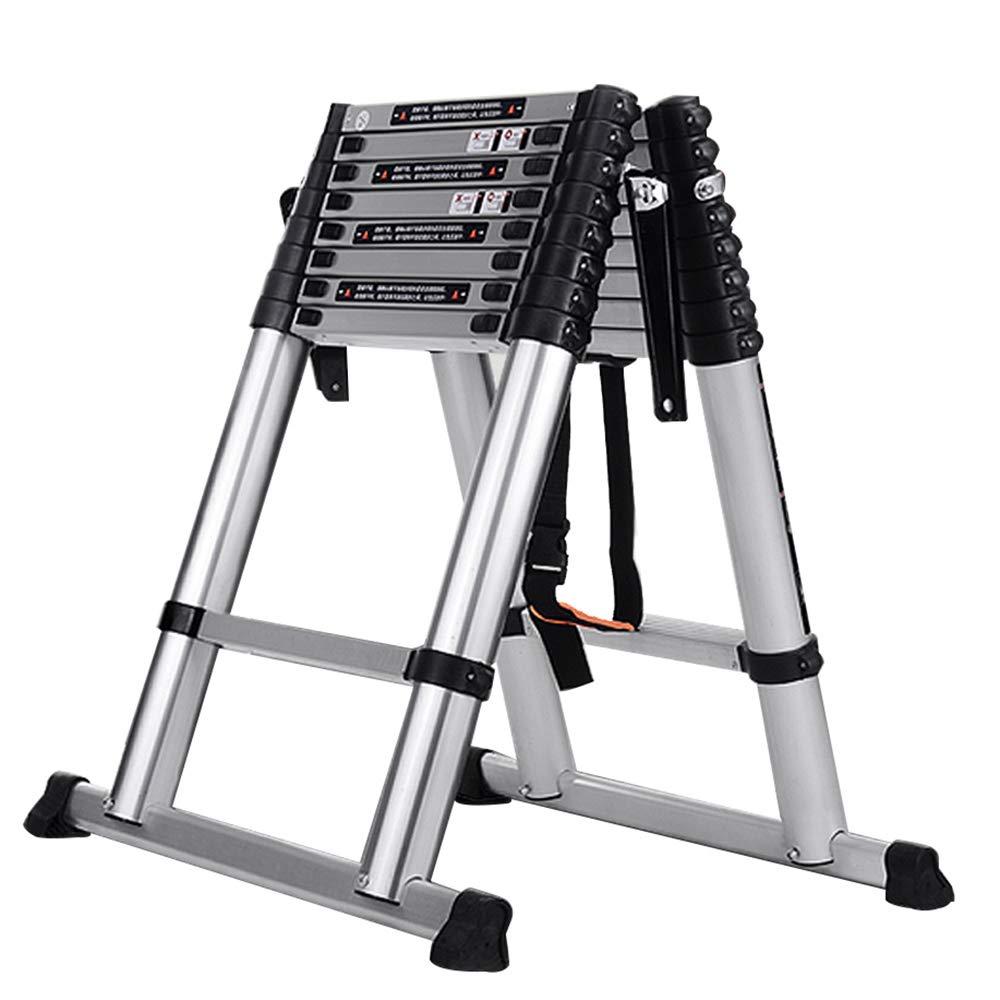 ステップスツール 厚いアルミ合金多機能折りたたみ梯子世帯の梯子ヘリンボーンリフトロフトエンジニアリング梯子 - 積載量150キロ (サイズ さいず : 2.5+2.5m=5m straight ladder) B07QZGVL4Y  2.5+2.5m=5m straight ladder