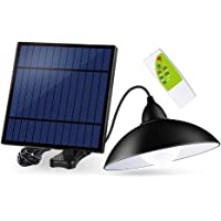 OurLeeme Luz solar al aire libre, lámpara colgante impermeable retro de 12LED con pantalla Bombilla LED solar con cable de control remoto de 3M para jardín Patio Inicio