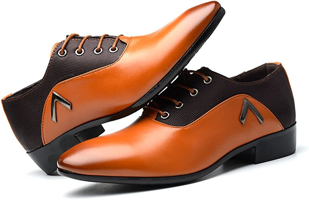 L.P.L Mens Lace Up Shoes Black Heel Business Oxfords With PU Leather Splice Breathable Shoes