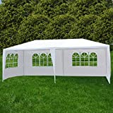 Uenjoy 10'x20' Party Tent Canopy Wedding Tent Event Tent Outdoor Gazebo White with 4 Sidewall