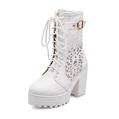 Ladies Bandage Hollow Out Leopard Pattern Chunky Heels White Imitated Leather Boots - 7 B(M) US