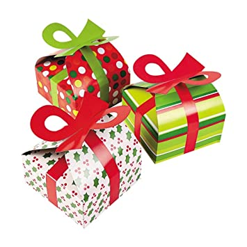 3d Christmas Gift Boxes With Bow Party Favor Goody Bags Paper