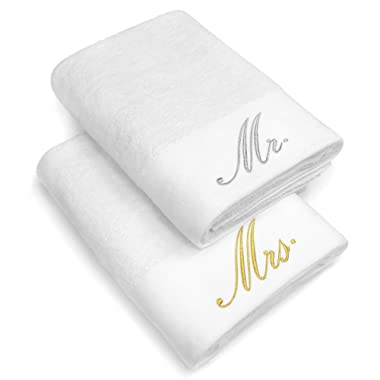 Kaufman - Luxurious Couples Embroidered Bath Sheet Set of 2 Large Towels for Partners (White - Mr and Mrs)
