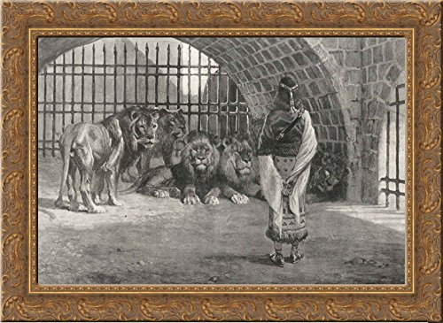 Daniel in the Lion's 24x18 Gold Ornate Wood Framed Canvas Art by James Tissot