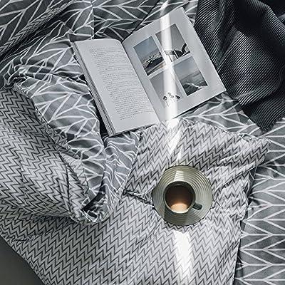 BuLuTu Duvet Cover Queen 100 Cotton Grey,Geometric Arrow Chevron Reversible Stripe Kids Duvet Cover Set Full Bedding Collections,Super Soft,Lightweight,Natural,No Comforter: Home & Kitchen
