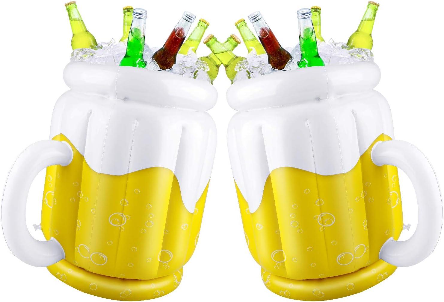 Pack de 2 cubos de cerveza inflables para fiestas de verano, tazas enfriadoras de bebidas para hawaiano Luau piscina playa temática fiesta temática en forma de taza 44 x 32 cm