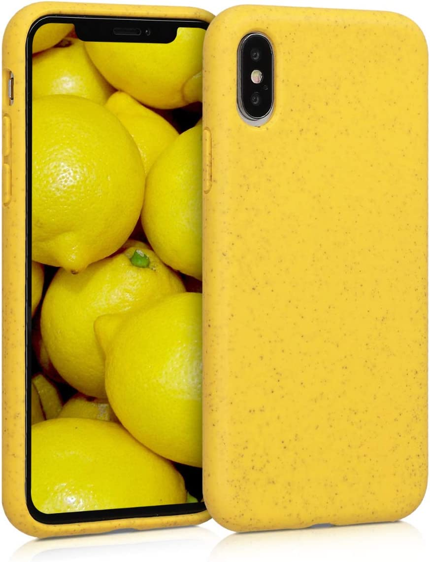 kalibri Case Compatible with Apple iPhone X - Made of TPU and Eco-Friendly Natural Wheat Straw - Yellow