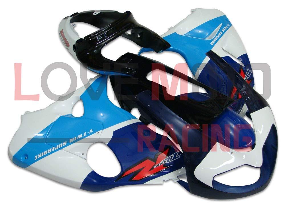 LoveMoto ブルー/イエローフェアリング スズキ suzuki TL1000R 1998 1999 2000 2001 2002 98 99 00 01 02 TL 1000 R ABS射出成型プラスチックオートバイフェアリングセットのキット ブルー ホワイト   B07KG2T91X