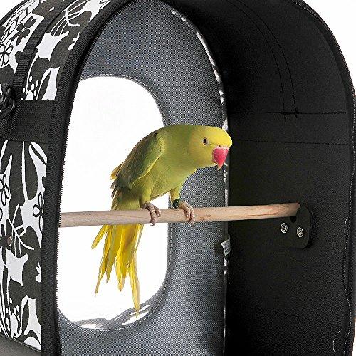 Soft Sided Bird / Parrot Travel Carrier (Black / White, Large)