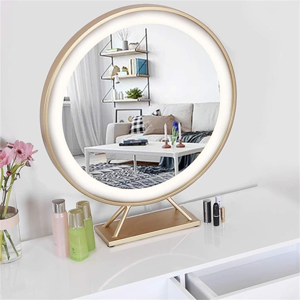 Espejo cosm/ético Independiente de pie con Base Dorada,40cm CJY-mirror Espejo de vanidad Iluminado de Hollywood Tocador de Maquillaje LED Enchufe en Espejo cosm/ético Iluminado