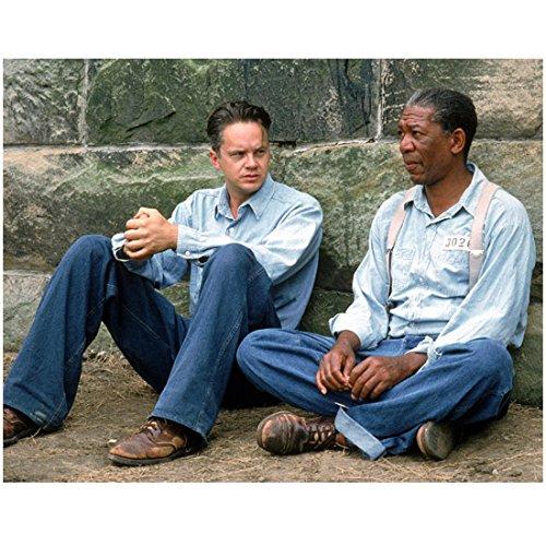 The Shawshank Redemption (1994) 8 Inch x 10 Inch Photo from Slide Tim Robbins & Morgan Freeman Sitting on Ground kn