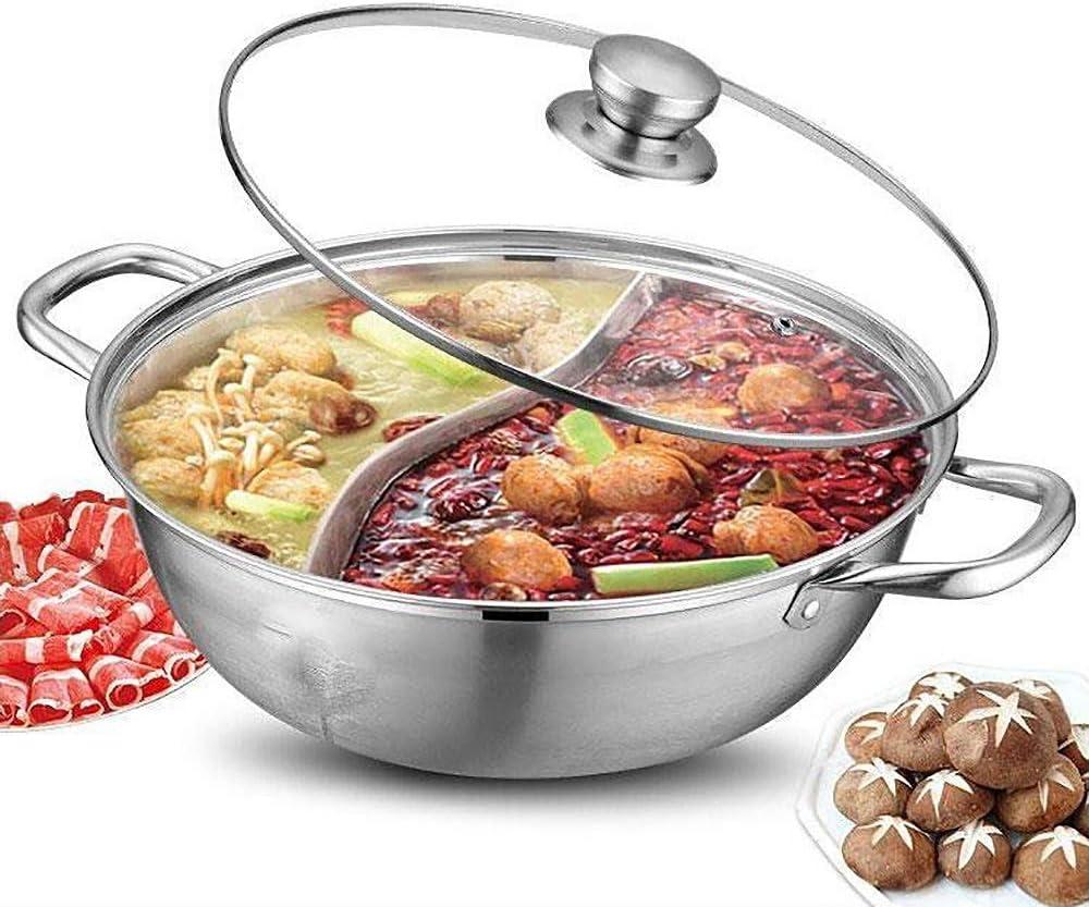 """Shabu Shabu Hot Pot, Hot Plate Cookware Set Ramen Cooker, Hot Pot Soup Base Stainless Steel Pot Set, 12""""(30cm) Hot Pot with Divider"""