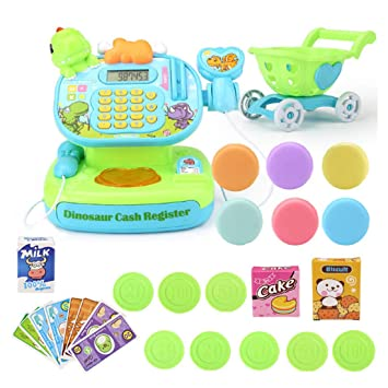 439233489878 LVPY Cash Register, 31 piece Play Cash Register with Scanner and Toy  Groceries for Age