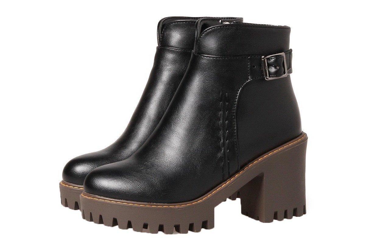 AgeeMi 19769 Unie Shoes Femme Couleur PU Cuir Zip Couleur Unie Tacco Alto Rond Bottes Noir a4d2932 - reprogrammed.space