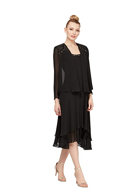 Vintage Evening Dresses and Formal Evening Gowns S.L. Fashions Womens Embellished-Shoulder and Neck Jacket Dress $95.83 AT vintagedancer.com