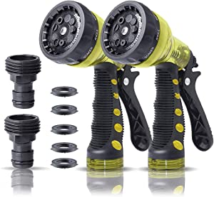 QWER Refined Garden Hose Nozzle,Hose Sprayer,Hose Sprayer Nozzle with 9 Adjustable Watering Patterns,Water Hose Sprayer Nozzle High Pressure, Car Washing, Shower Pets(6.2 inches,2pack.Green)