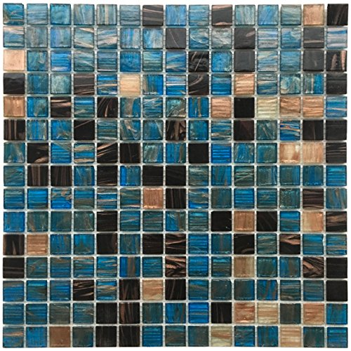 Blue Sapphire Copper Blend Iridescent Glass Backsplash Mesh-Mounted 3/4 x 3/4
