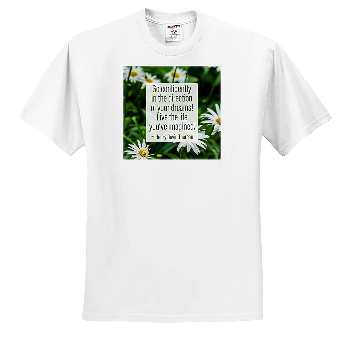 Quotes About Life Daisy Flowers 3dRose Alexis Design Henry David Thoreau Quote Go Confidently - T-Shirts