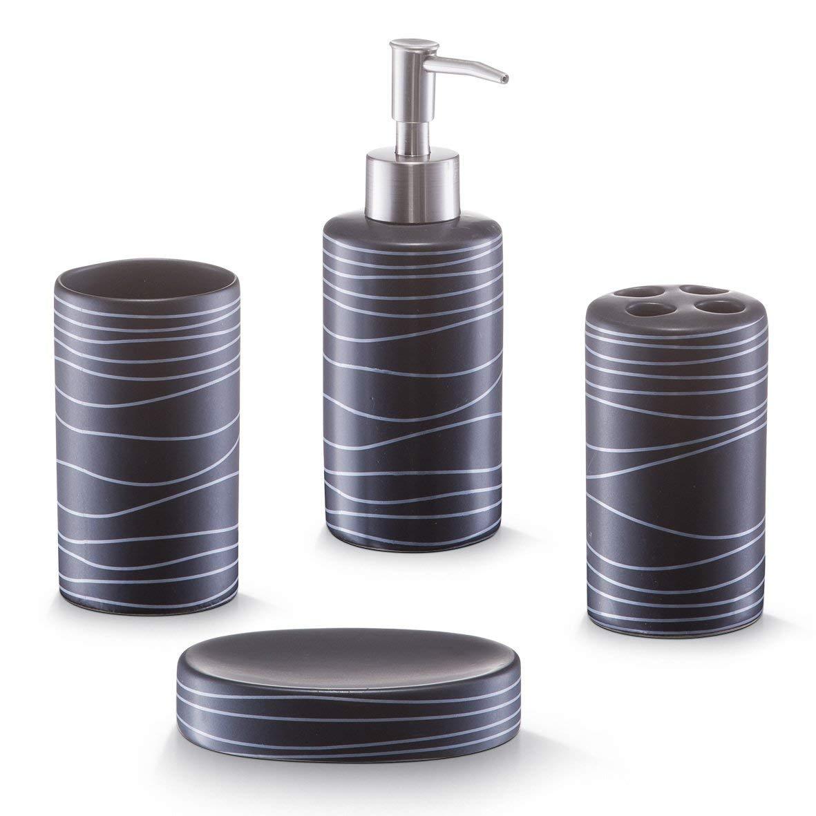 Zeller 18252 Set di Accessori per Bagno, Ceramica, Nero, 22x21.5x7 cm, 4 unità 4 unità