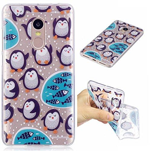 Erdong® Funda de Silicona TPU para Xiaomi Redmi Note 4 5.5, Carcasa Transparente Soft Clear Case Cover Funda Blanda Flexible Carcasa Delgado Ligero Caja Anti Rasguños Anti Choque con Diseño Creativo  Pingüino