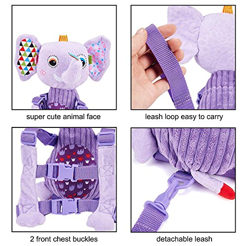 Mufly Toddler Safety Harness Backpack Children's Walking Leash Strap and Name Label -Multicolor (purple) by Mufly (Image #8)