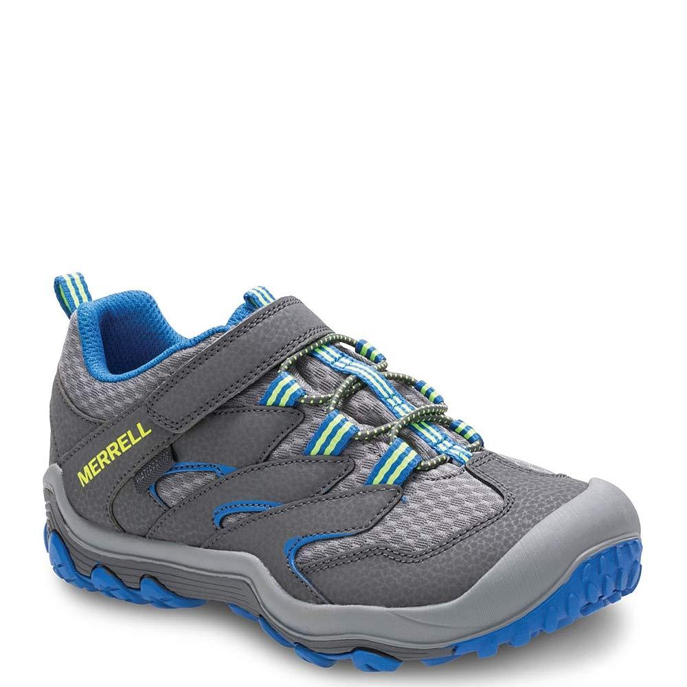 Merrell Boys' Chameleon 7 Access Low A/C WTRPF Hiking Shoe, Grey/Blue, 2 Wide US Little Kid by Merrell