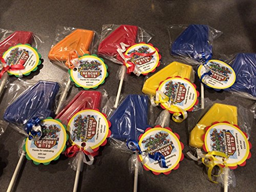 12 Transformer Rescue Bot 4th Birthday Gourmet Chocolate Lollipops Gifts Party Favor (Custom Chocolate Lollipops)
