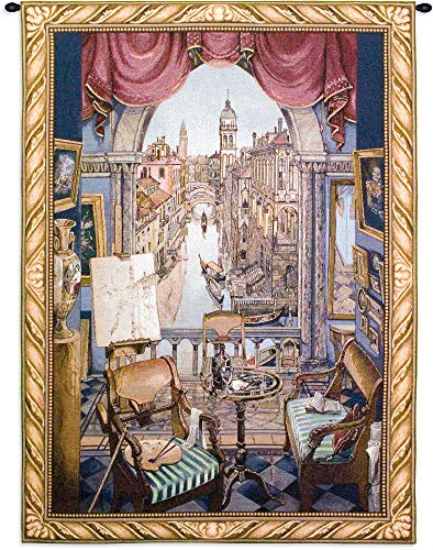 (Venice | Woven Tapestry Wall Art Hanging | Venitian Canal View from Regally Furnished Suite | 100% Cotton USA Size 53x38)