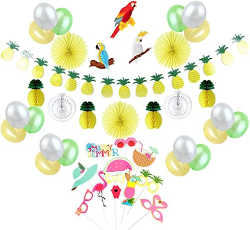 Sunbeauty Tropical Party Decoration Kit Jaune Vert Blanc Ballon Perroquet Ananas Deco Avec Photobooth Summer