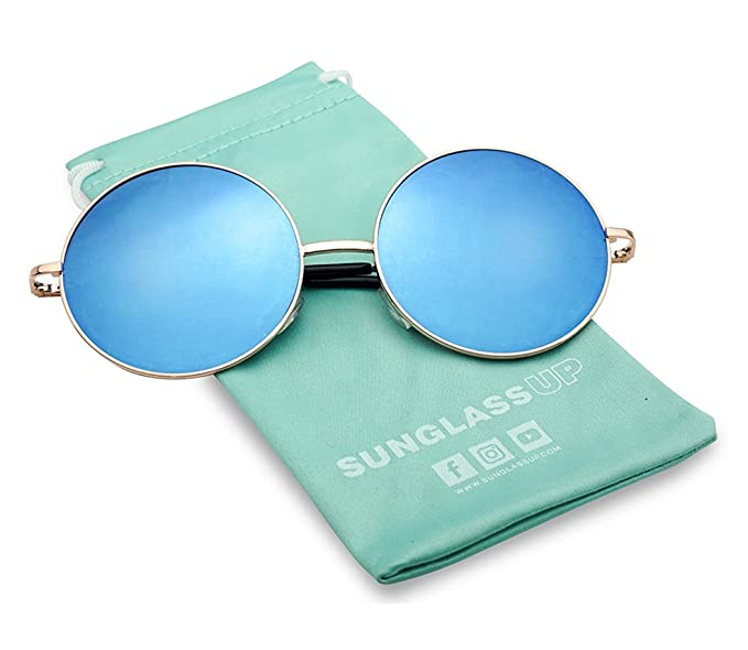 0b41e68dc3 55mm Large Circular Retro Round Flat Mirrored Hippie Circle Sun Glasses  (Rose Gold Blue