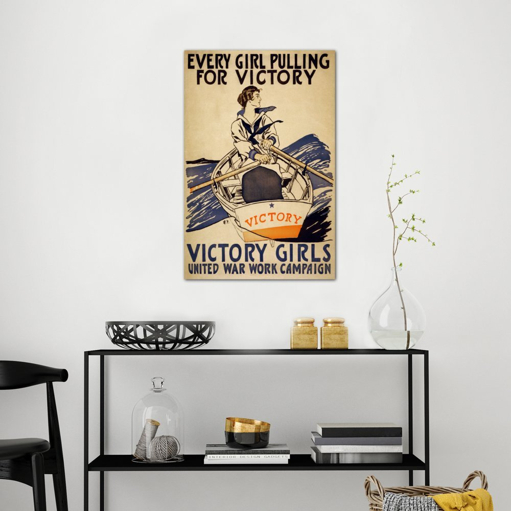 Icanvasart 3 Piece Every Girl Pulling For Victory Wwi Poster Canvas Print By Unknown Artist 1 5 By 40 By 60 Inch