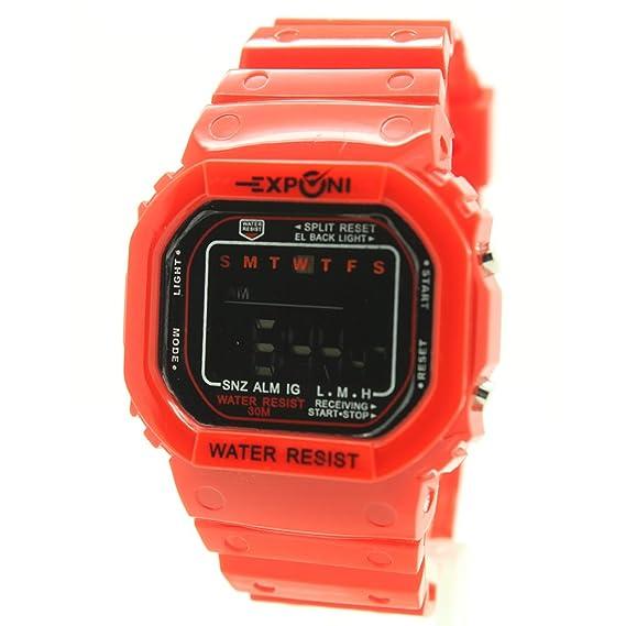 besttime exponi Square reloj digital color rojo correa de caucho unisex adultos & niños