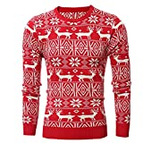 LETSQK Men's Reindeer Snowflakes Santa Ugly Christmas Pullover Sweater Red XL