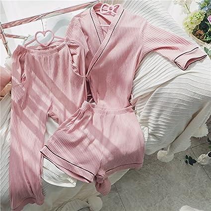 WXIN /Tres Piezas De Algodón Pijama Mujer Cortos Siete Mangas Largas /Bandas /Home