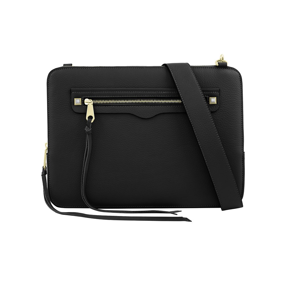 Rebecca Minkoff Regan Sleeve with Shoulder Strap for 13 Inch Macbook, 13'' Laptops - Black Pebble Leather
