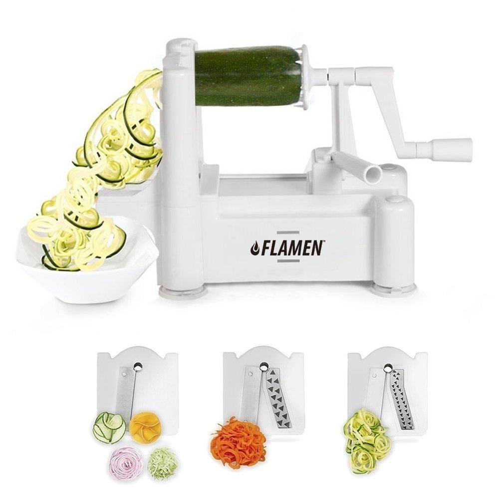 Amazon.com: Flamen Tri-Blade Slicer Vegetable Spiralizer and Fruit ...