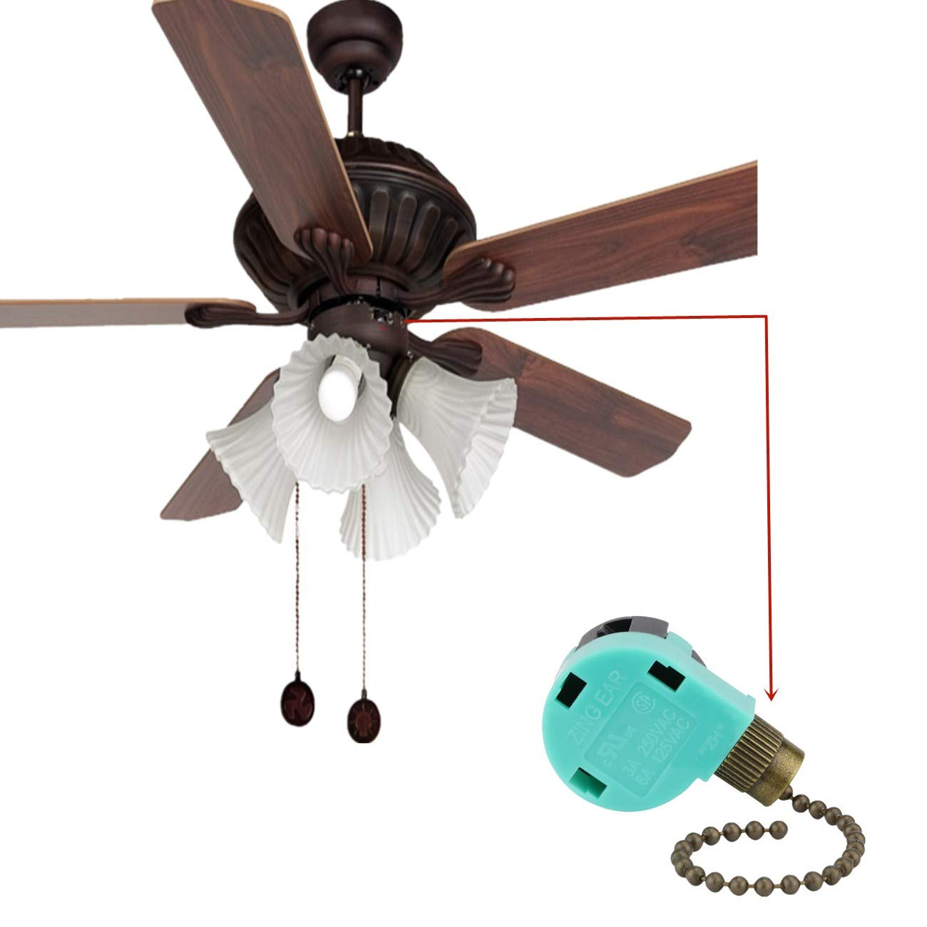 Ceiling Fan Switch ZE-268S6 Zing Ear 3 Speed 4 Wire Pull Chain Control Fans Accessories Switch Ceiling Fan Replacement Speed Control Switch Dayone