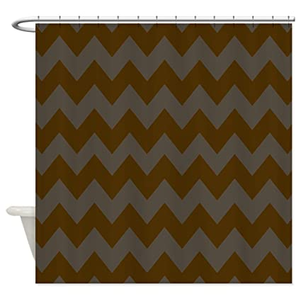 Image Unavailable Not Available For Color CafePress Dark Brown And Gray Chevron Shower Curtain