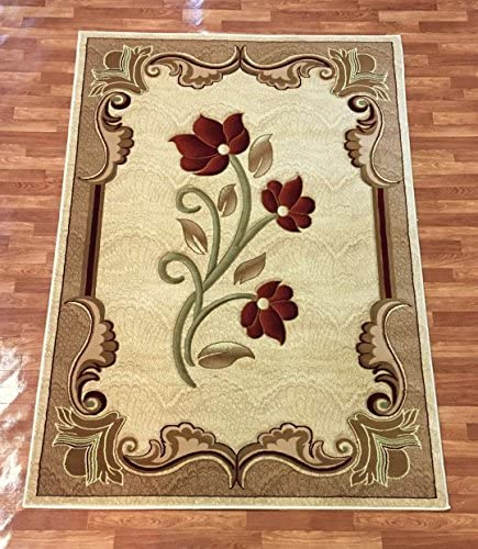 Area Rugs for Living Room Jute Rugs for Bedroom Contemporary Abstract Rug Oriental Area Rug Contemporary Flower Design Cream Beige Red Floral Modern Area Rug Carpet 5 x 8