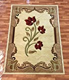 New Contemporary Flower Design Cream Beige Red Floral Modern Area Rug Carpet 8 by 11