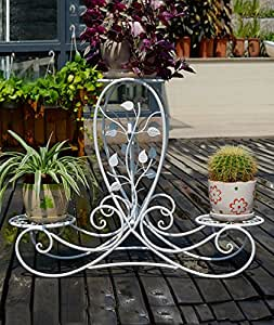 ZHANWEI Flores Escaleras Marco de flores de hierro Creative Multi-Layer Retro Potted Balcón Balcón Living Flower Pot Rack ( Color : A , Tamaño : 87*25*4*66cm )
