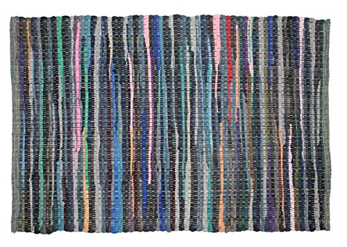 (Cotton Craft - 2 Pack Hand Woven Reversible 100% Cotton Multi Color Chindi Rag Rug - 20 x 32 - Rug is made from multi color re-cycled yarns, actual product may vary in color from the image shown)