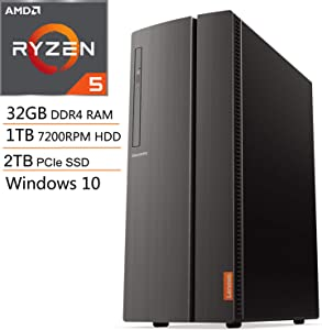 Lenovo IdeaCentre 510A Desktop Computer, Quad-Core AMD Ryzen 5 3400G up to 4.2GHz (Beats i7-8705G), 32GB DDR4 RAM, 1TB 7200RPM HDD + 2TB PCIe SSD, DVDRW, 802.11AC WiFi, Windows 10, iPuzzle Mouse Pad